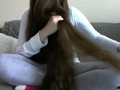 Cute Long Haired Brunette Hair Oiling and Hairplay