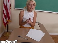 Schoolgirls get frisky in the classroom