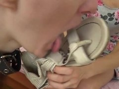Russian Mistress gets her shoes and feet licked clean