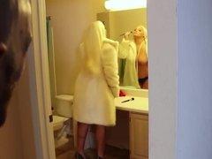 Naughty blonde POV handjob