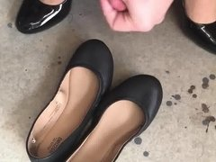 Cum in black flats wearing a dress and blackness heels.