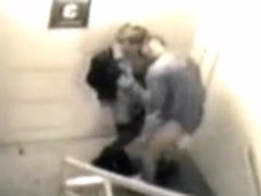Blowjob on stairs recorded by a security camera