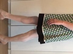 Bodystocking with my girlfriends skirt