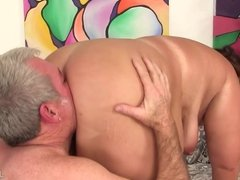 BBW Has Her Belly and Ass Licked Before Fucking