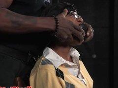 Ebony bdsm sub tiedup and fingered by maledom
