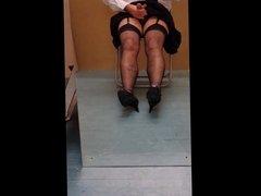 Naughty schoolgirl cums on her stockings