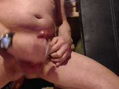 shooting my cum in big spurts all over my dick and hands