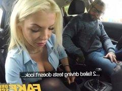 Fake Driving School Busty blonde Barbie Sins wants learners cum on test