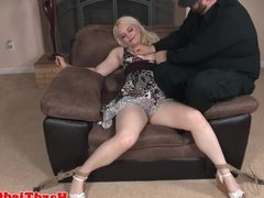 Male dom spanks and fingers blonde sub
