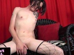 Transitioning tgirl tugging in solo scene