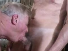 Two old men with hot woman