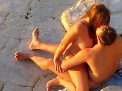 Sex on the beach. Happy couple.