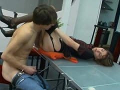 Russian mature Orsi fucked in nylons