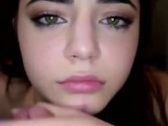 Brunette college girl with pretty green eyes deepthroats