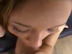 Lovely Brunette Teen Babe Blowjob