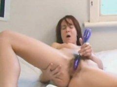 Girl is masturbating extreme loud