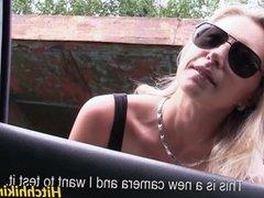 Hot amateur slut fucked hard for a free ride to Prague
