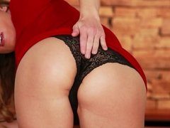 Hot blonde milf in lingerie stripping and fingering pussy