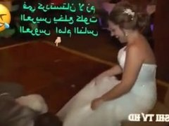 Bride takes off her panties