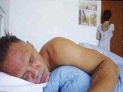 Mature Gives Blowjob To Woke Up Man
