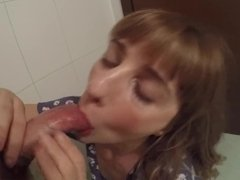Big Load of Cum on Cute Teen Face