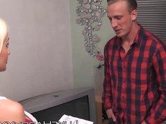 Blonde bimbo Cindy Sun gets her holes drilled by Luke Hardy