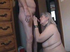 Kim Bates swallows a load. She can suck a cock.