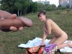 guy masturbates on a naked woman