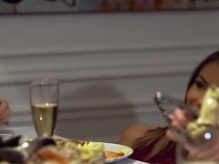 Dinner party and cum in mouth