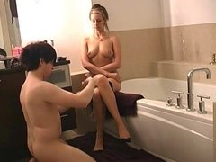 Chaste cuckold slave preparing his Mistress for date