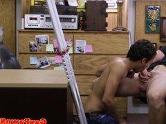 Pawnshop amateur sucking before sex on spycam