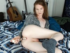 Ass to mouth and deep dildo fucking in socks and sweater