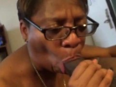 Getting head from a lady with glasses and big titties....