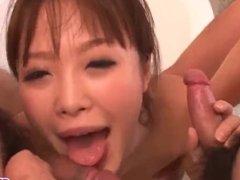 Momoka Rin throats two dicks in the bathroom   - More at Slurpjp com