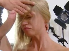 Innocent blondie get her pussy and ass fucked raw during photoshoot