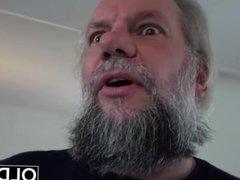 19 yo helps grandpa gave orgasm fucking him cum swallow
