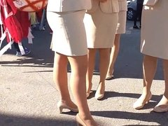 tight skirt shiny pantyhose