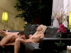 Fucking Horny Blonde Vanessa Cage On The Black Couch