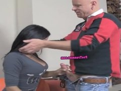 Roundass tranny doggystyle fucked after bj