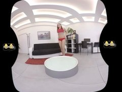 Vany Ully fingers her pee drenched pussy in this virtual reality scene