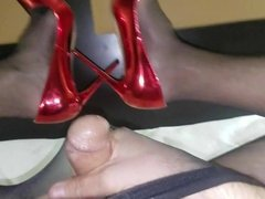 Orgasm cum in black nylon seamless pantyhose and red heels