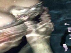 Girlfriend Nude Boobs in Hotel Public Pool