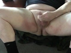 Big ass and chubby thighs spread while I cum.