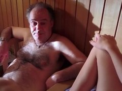 Young Teen Beauty Seduce Dirty Old man in a Steam Room