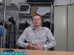 Auditioning ginger cockrides bareback POV