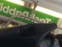 Hot ass in tight n transparent leggings in metro