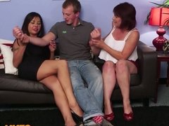 Busty english femdoms tug cock in cfnm group