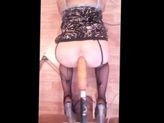 Russian crossdresser deep hard anal fuck machine session)