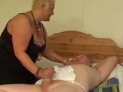 BBW granny hard anal fuck while sissy husband watching