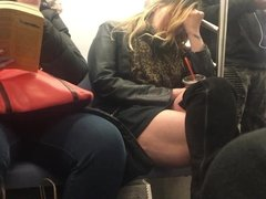Thick Cellulite Thighs on the train